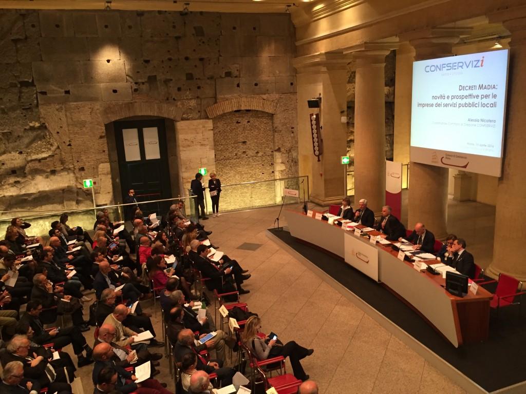 Un'immagine del convegno organizzato da Confservizi lo scorso 15 aprile a Roma.