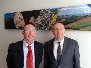 Il presidente di Confservizi Emilia - Romagna Luigi Castagna (a sx) e il collega delle Marche Graziano Mariani.